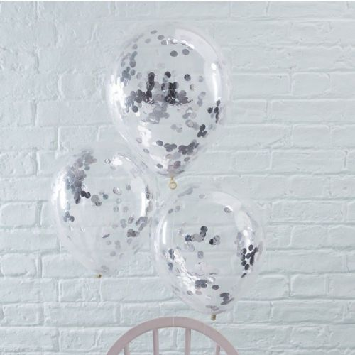 "Pick & Mix Silver Confetti Balloons - 12"" Latex (5pk)"
